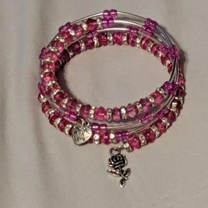 Jewelry - Handmade Pink Glass & Swarovski Crystal bracelet